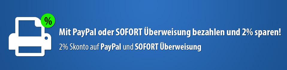 Skonto bei PayPal und SOFORT Überweisung