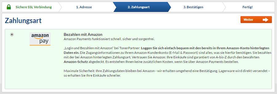 Zahlungsart Bezahlen mit Amazon bei TonerPartner